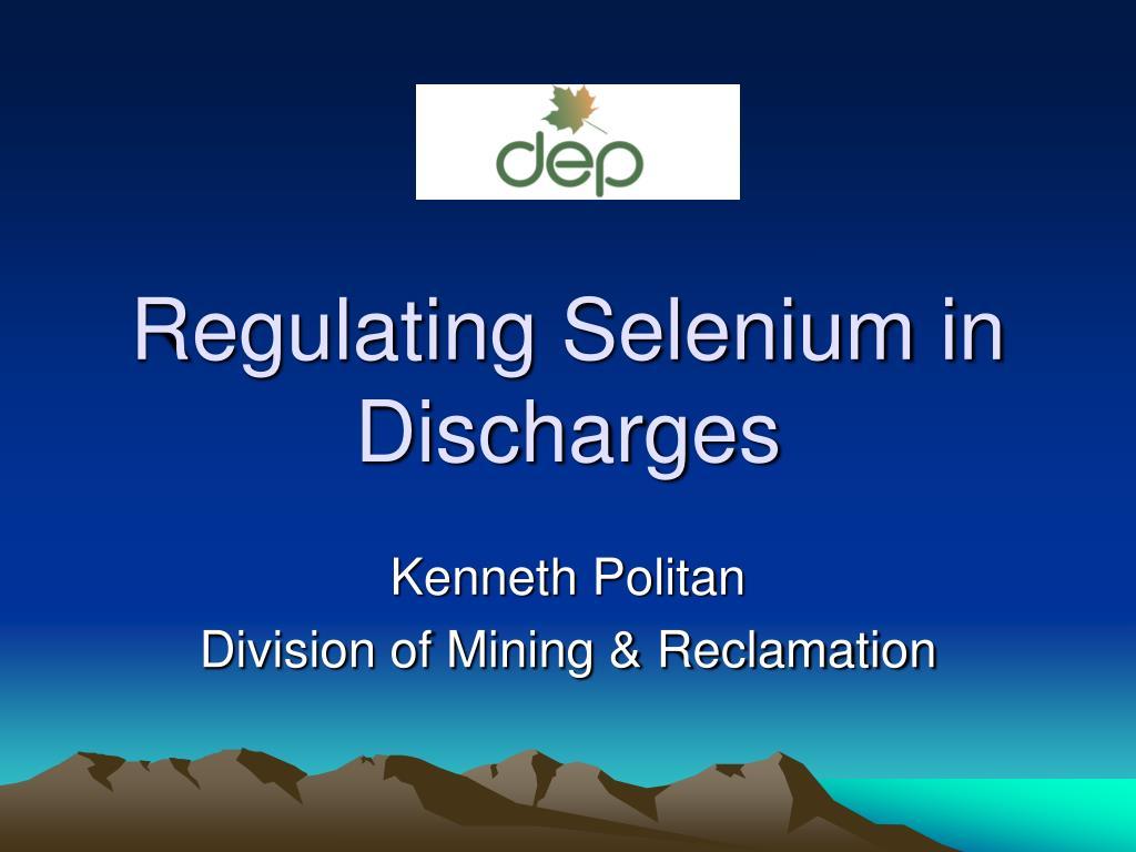 regulating selenium in discharges