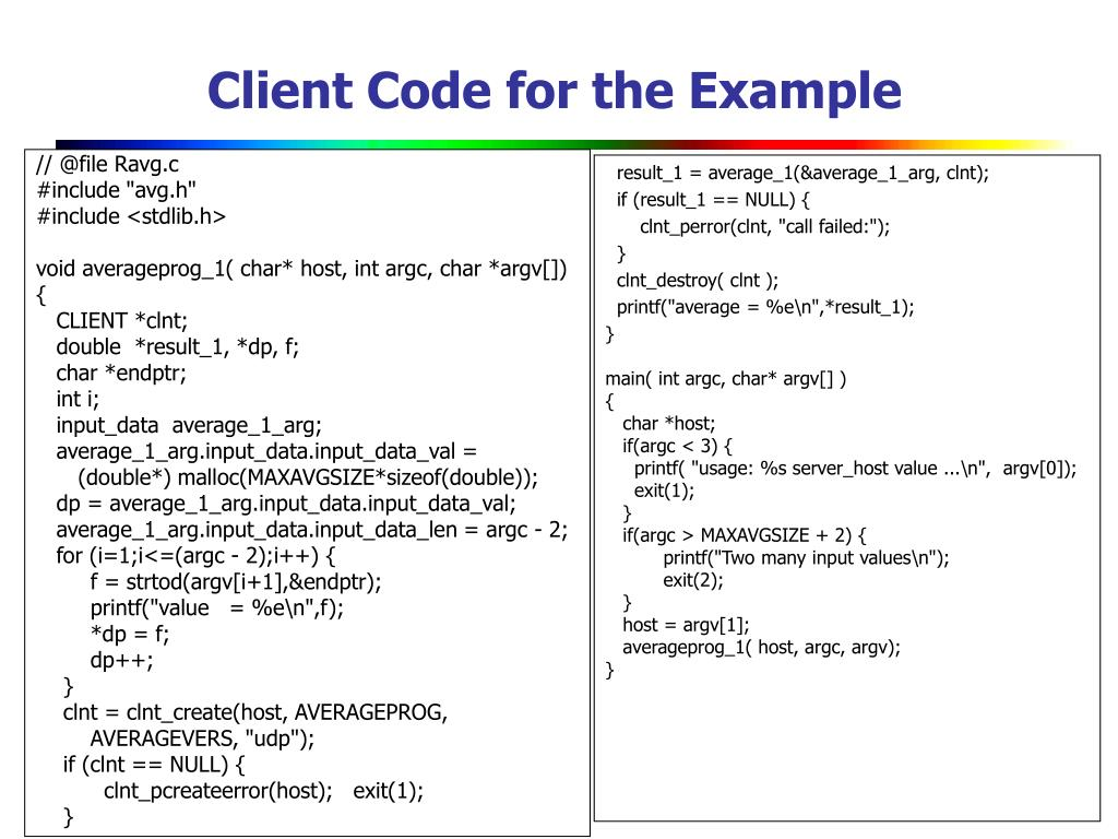 Client Code for the Example