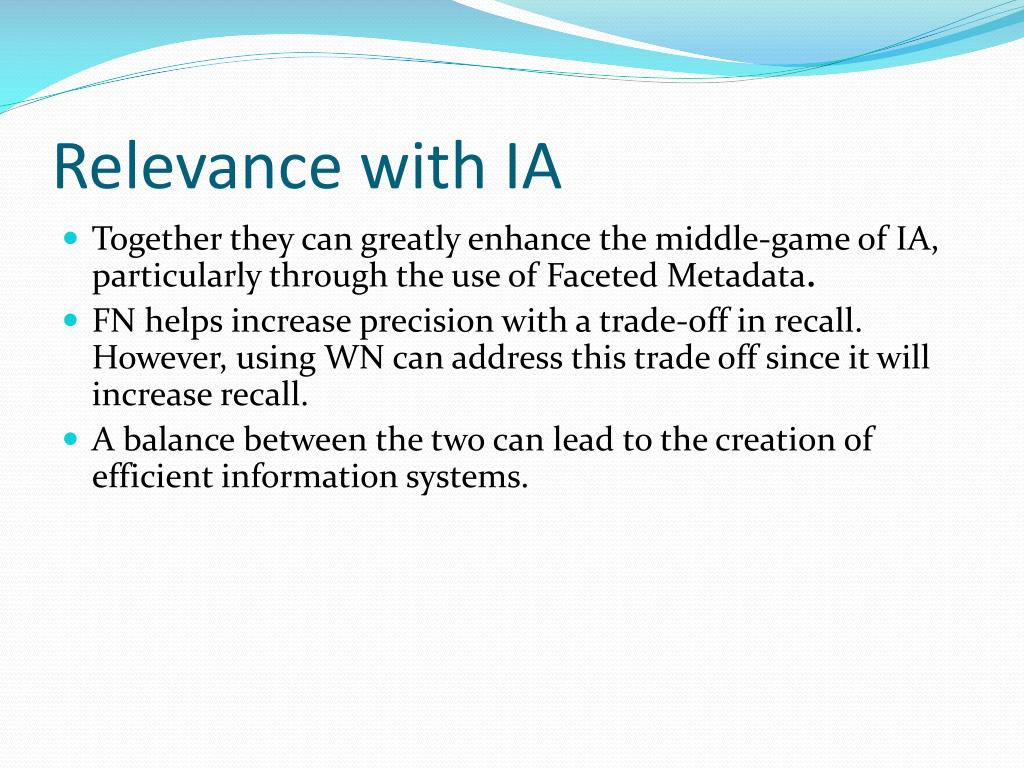 Relevance with IA