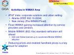 activities in wimax area
