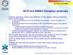 wi fi and wimax changing landscape