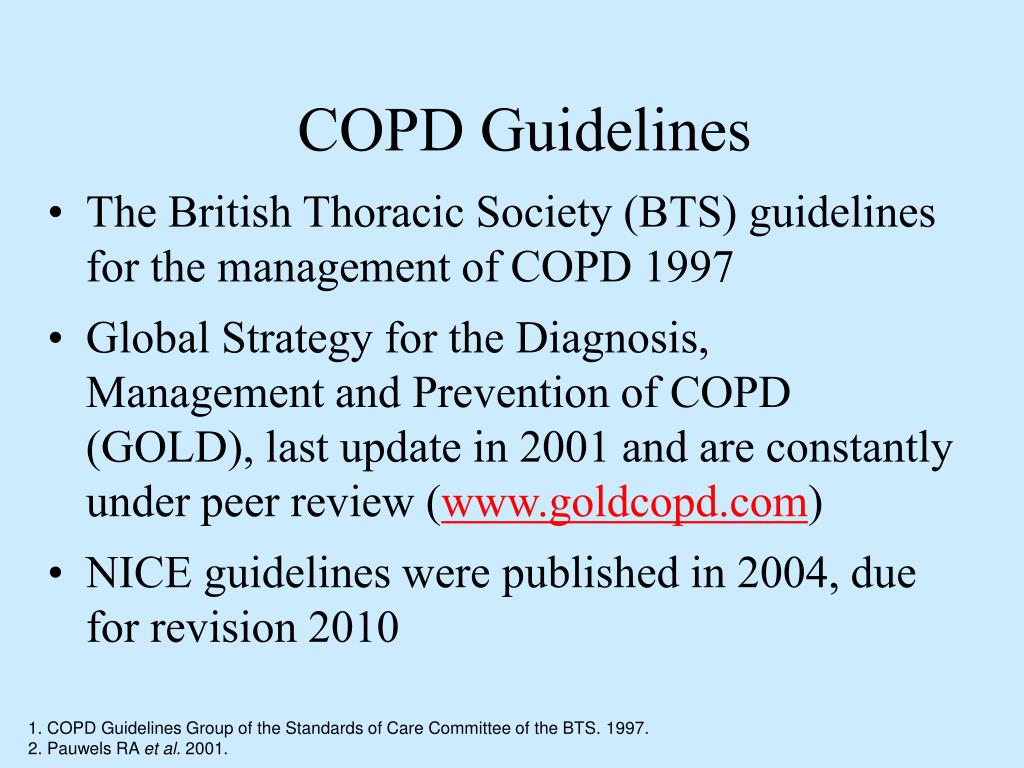 The British Thoracic Society (BTS) guidelines for the management of COPD 1997