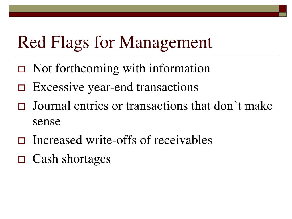 Red Flags for Management