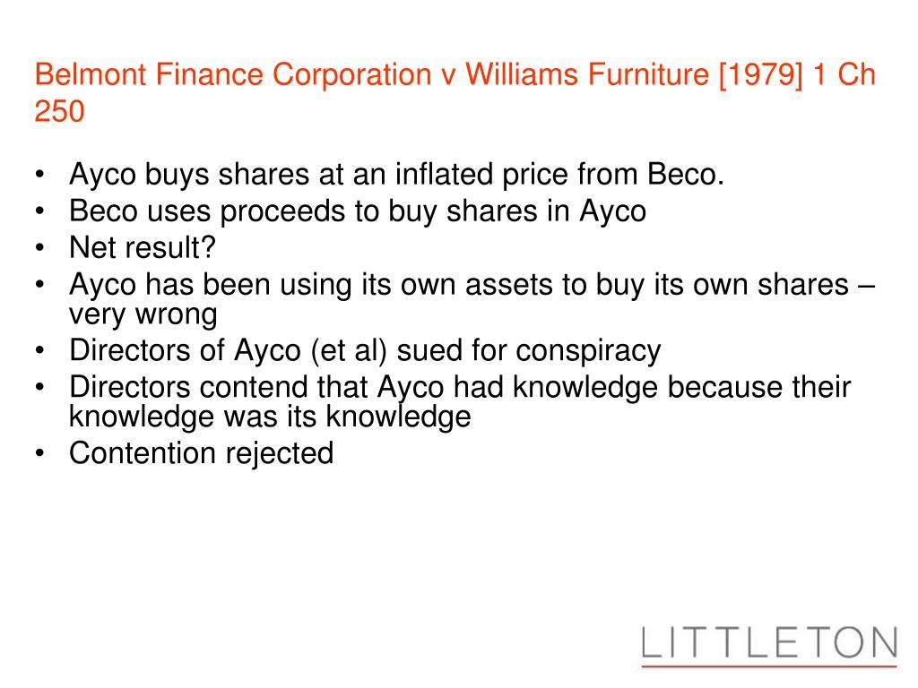Belmont Finance Corporation v Williams Furniture [1979] 1 Ch 250