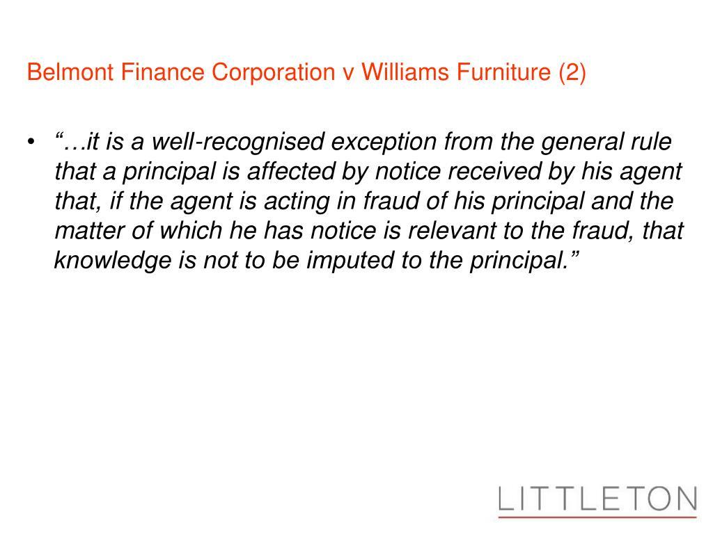 Belmont Finance Corporation v Williams Furniture (2)
