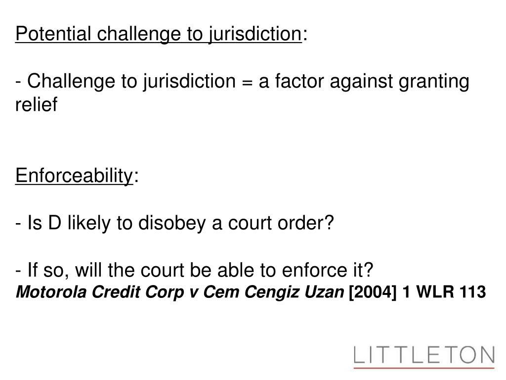Potential challenge to jurisdiction