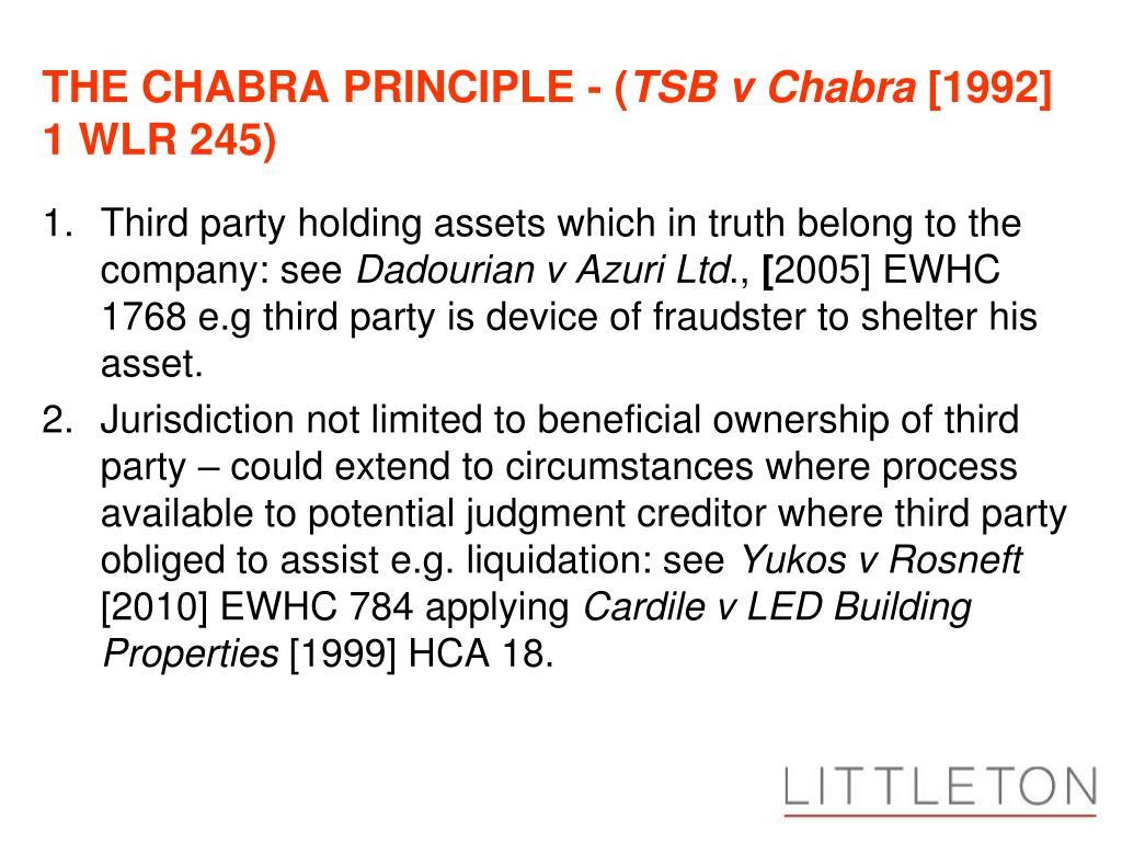 THE CHABRA PRINCIPLE - (