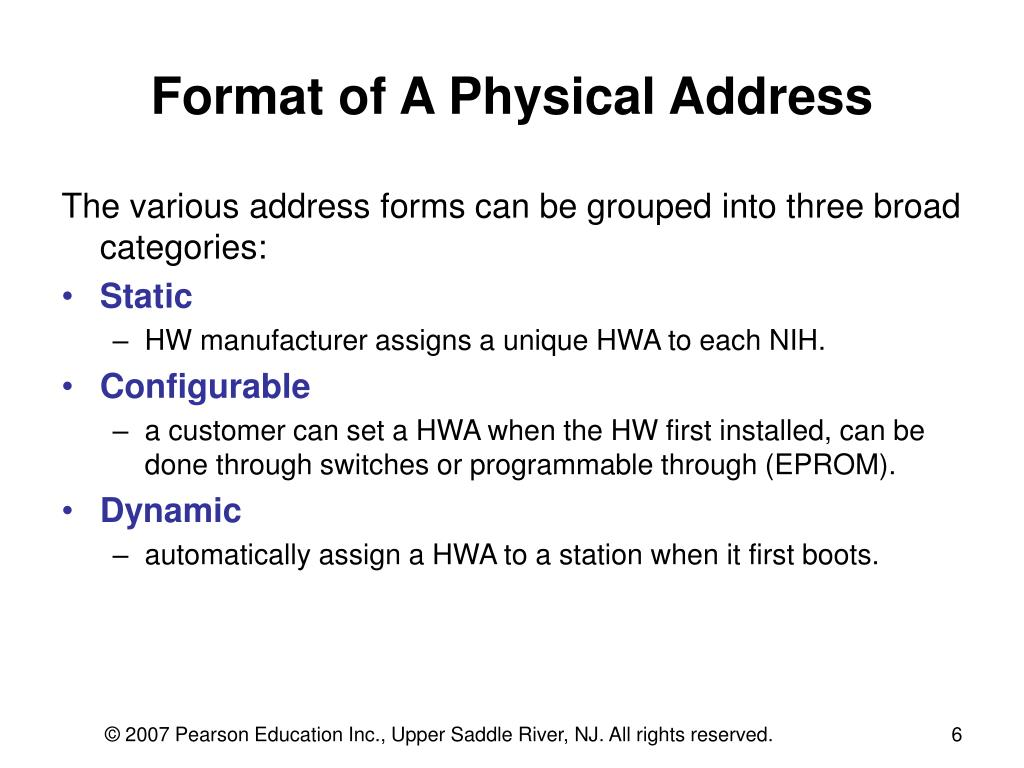 Format of A Physical Address
