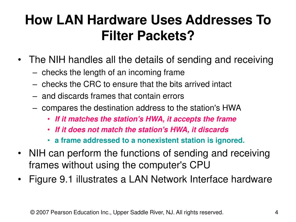 How LAN Hardware Uses Addresses To Filter Packets?