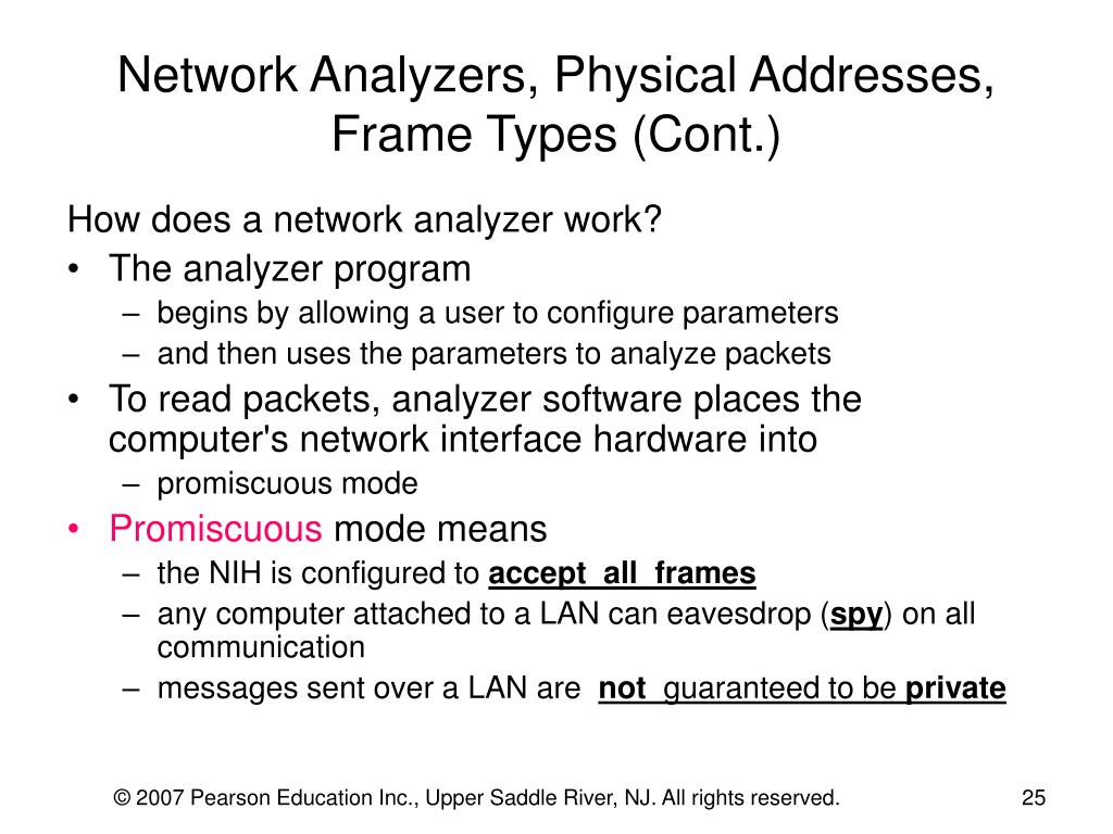Network Analyzers, Physical Addresses, Frame Types (Cont.)