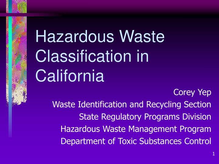 hazardous waste classification in california n.
