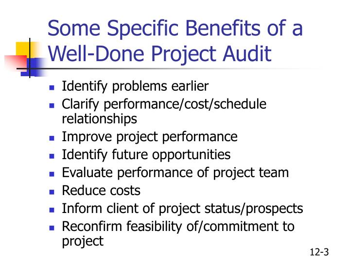 Some specific benefits of a well done project audit