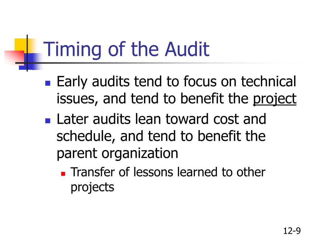 Timing of the Audit