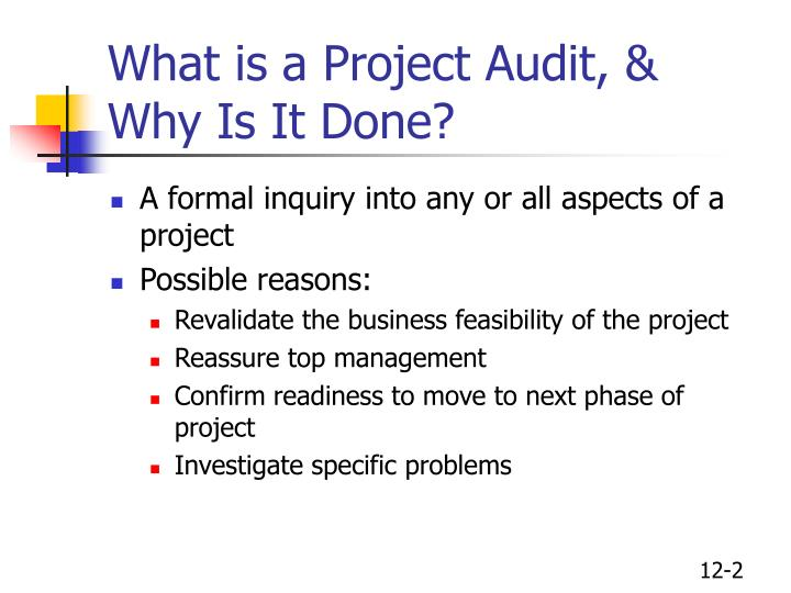 What is a project audit why is it done