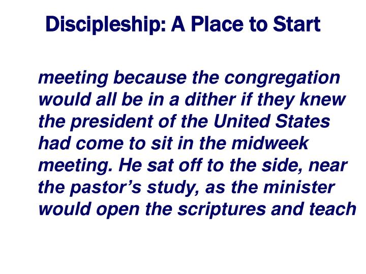Discipleship a place to start3