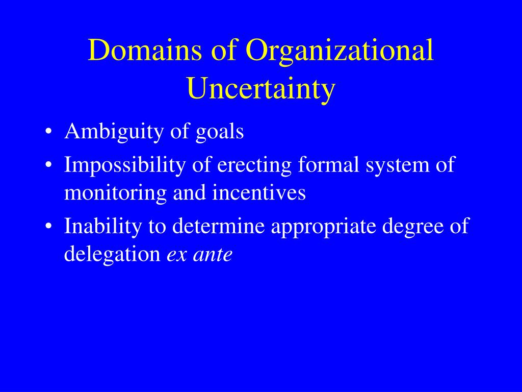 Domains of Organizational Uncertainty
