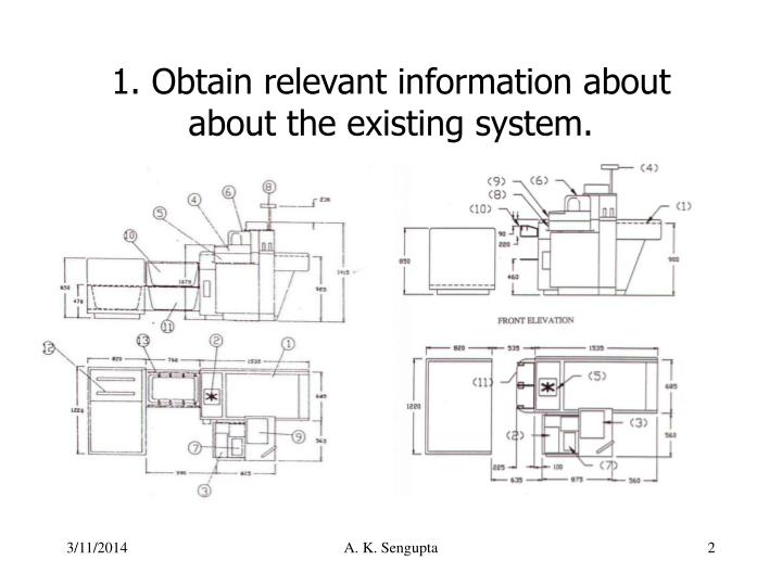 1 obtain relevant information about about the existing system