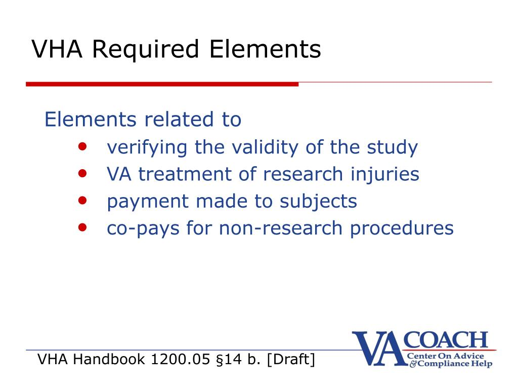 VHA Required Elements