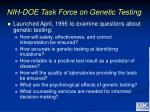 nih doe task force on genetic testing