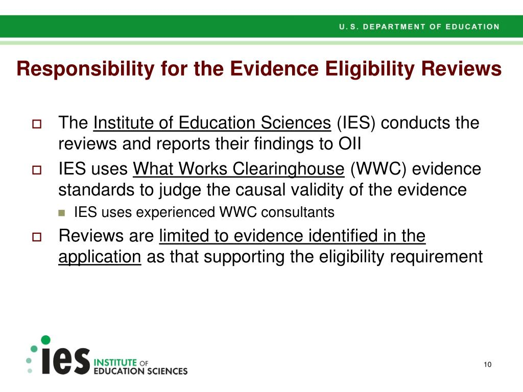 Responsibility for the Evidence Eligibility Reviews