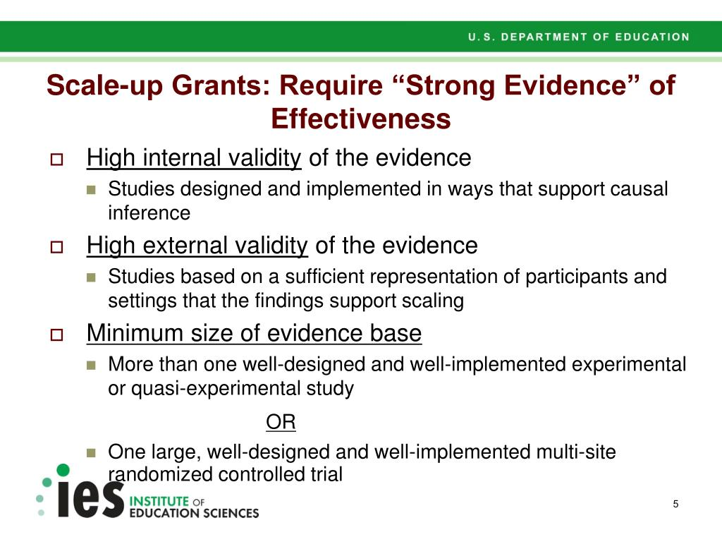 "Scale-up Grants: Require ""Strong Evidence"" of Effectiveness"