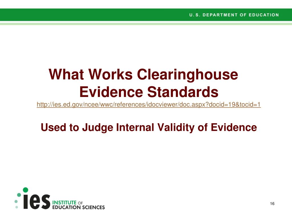 What Works Clearinghouse Evidence Standards