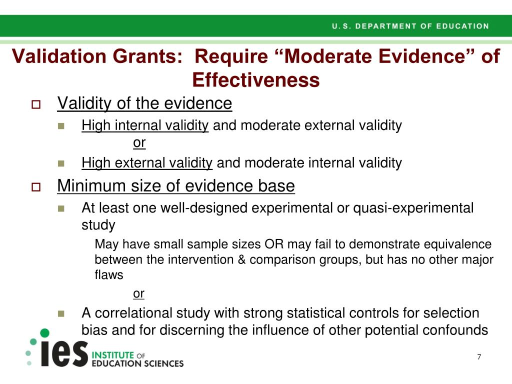 "Validation Grants:  Require ""Moderate Evidence"" of Effectiveness"