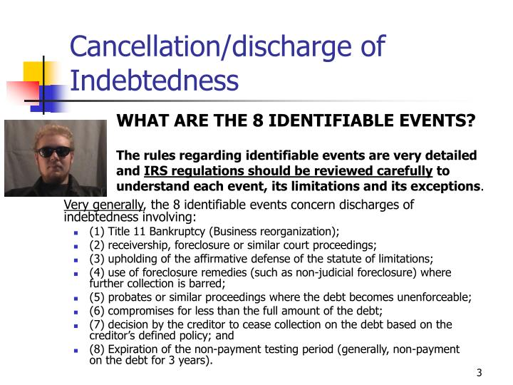 Cancellation discharge of indebtedness3