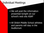 individual meetings