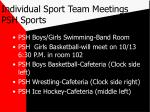 individual sport team meetings psh sports21