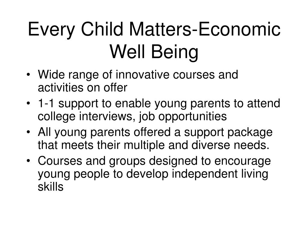 Every Child Matters-Economic Well Being