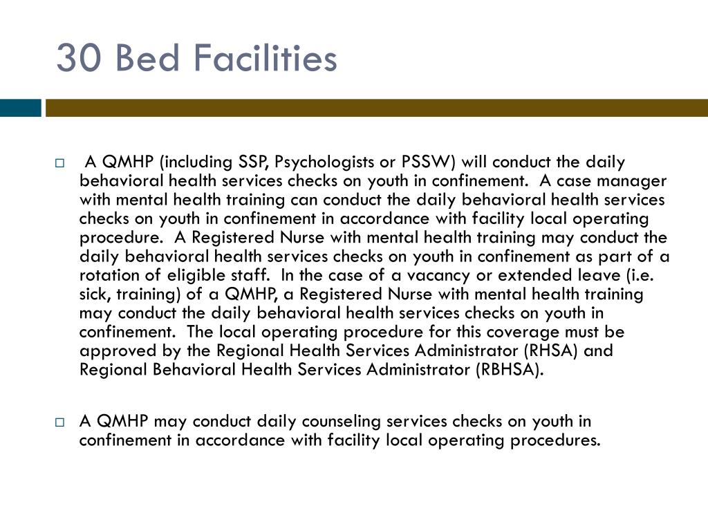 30 Bed Facilities