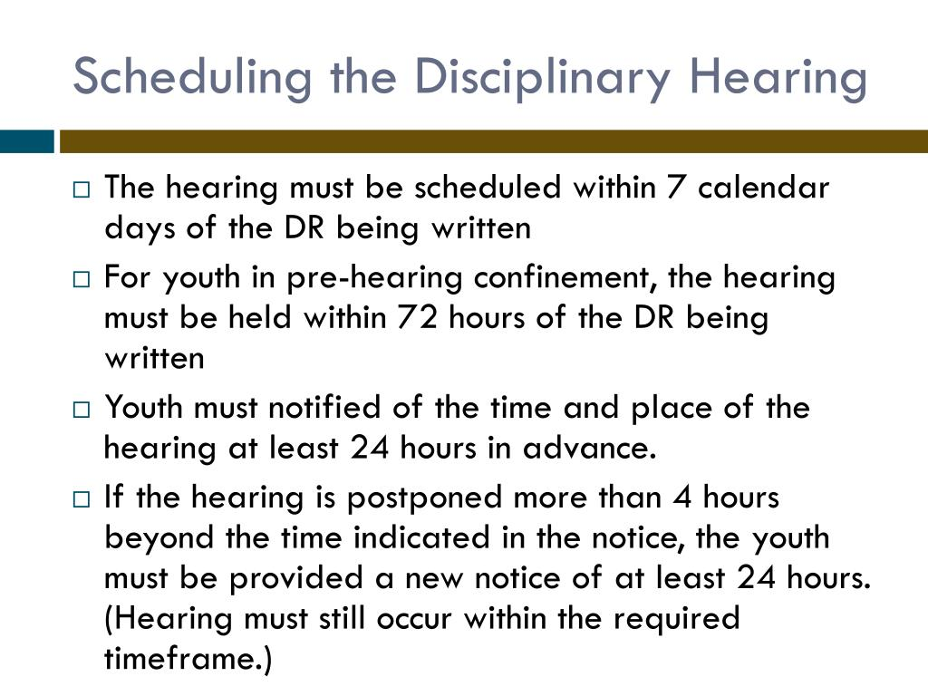 Scheduling the Disciplinary Hearing