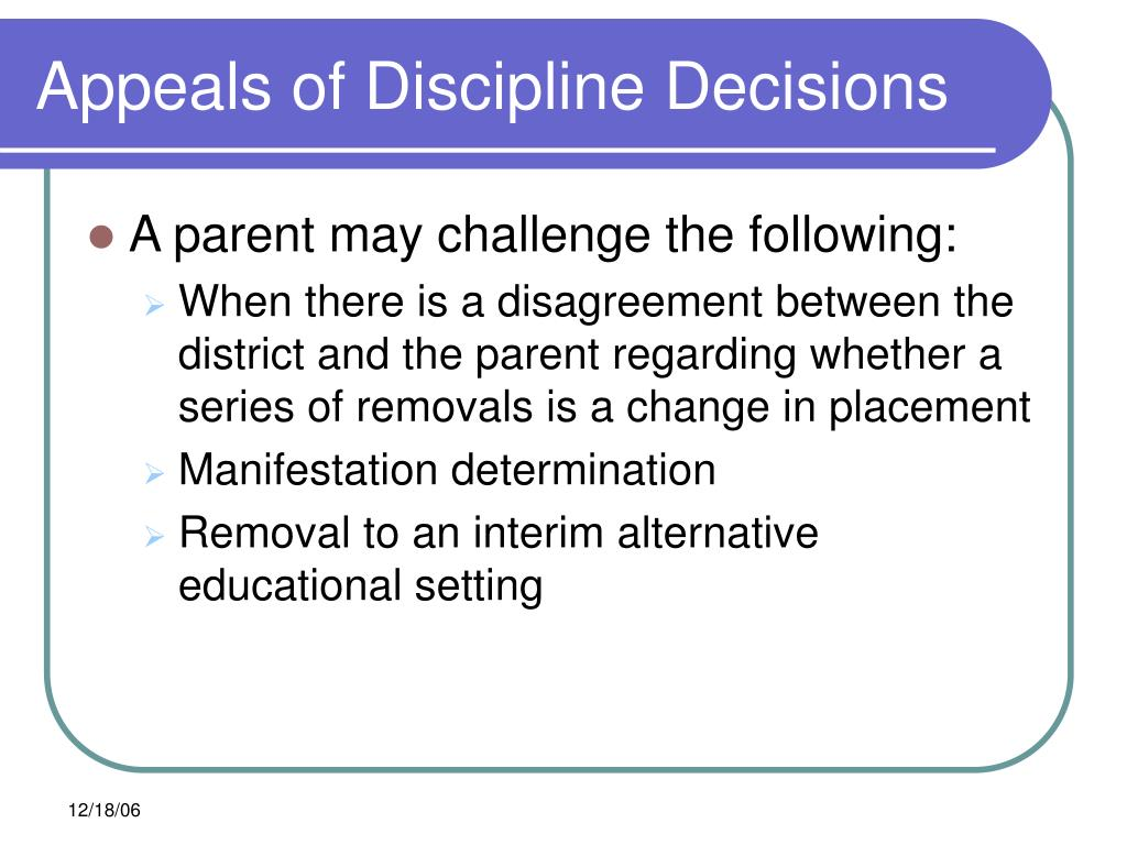 Appeals of Discipline Decisions