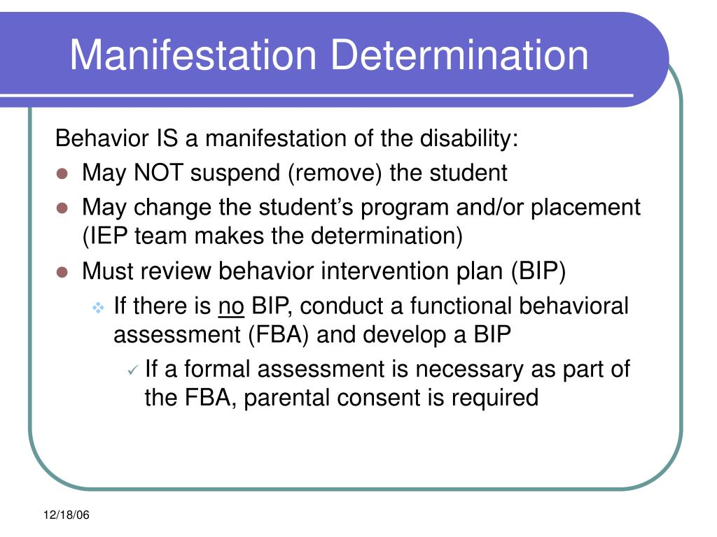 Behavior IS a manifestation of the disability: