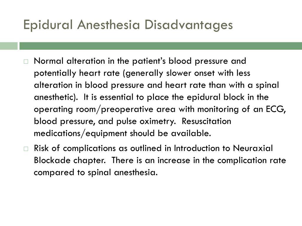 Epidural Anesthesia Disadvantages