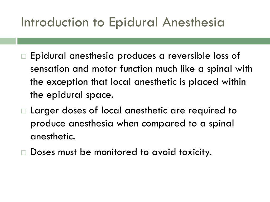 Introduction to Epidural Anesthesia