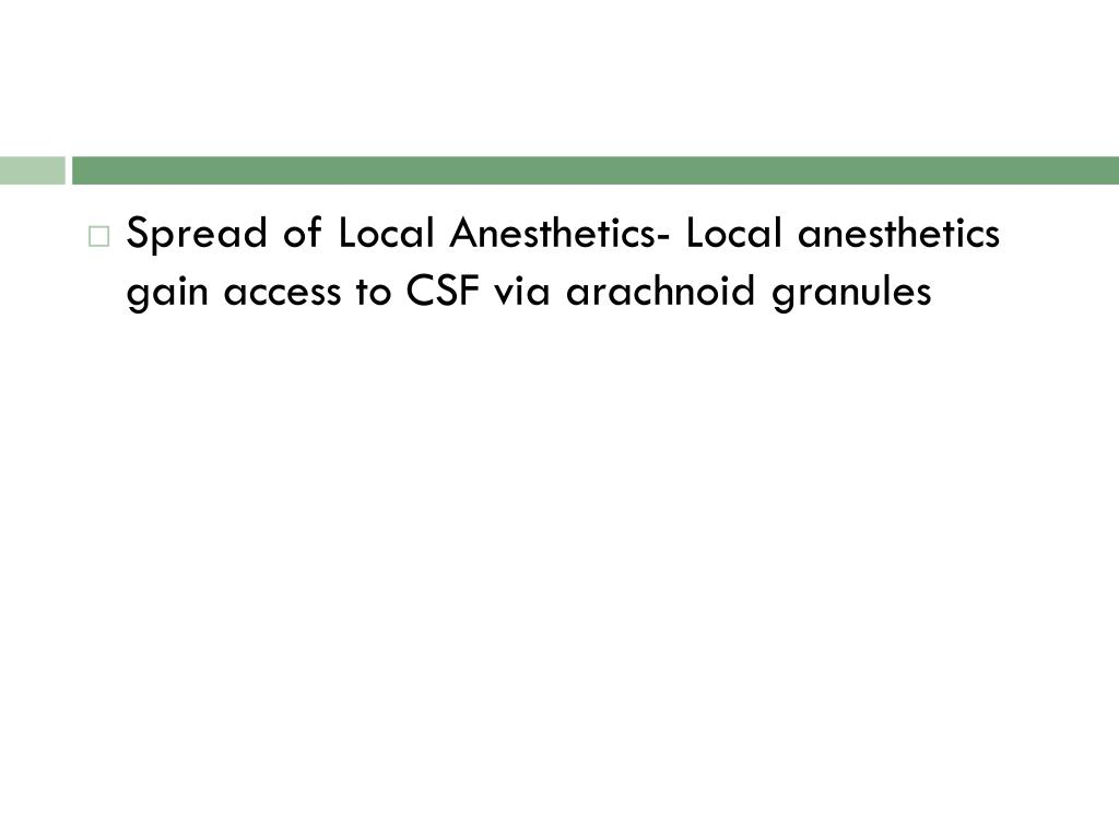 Spread of Local Anesthetics- Local anesthetics gain access to CSF via arachnoid granules