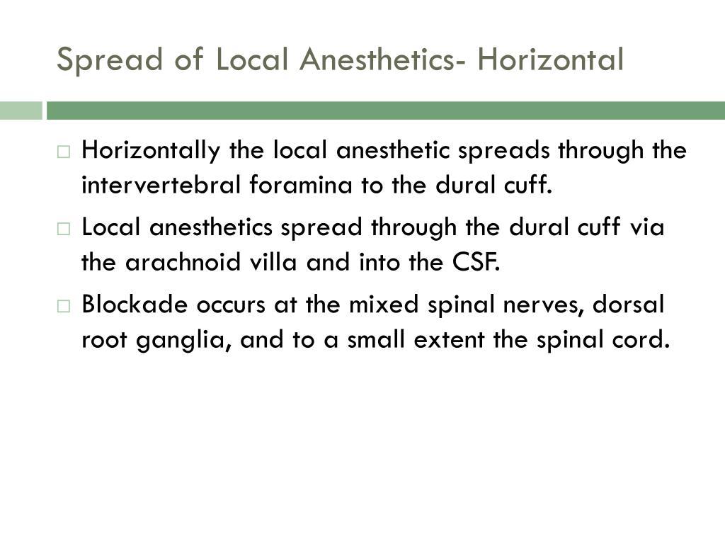 Spread of Local Anesthetics- Horizontal