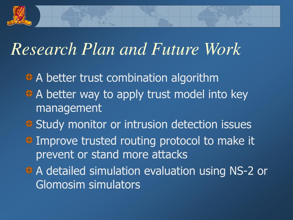 Research Plan and Future Work