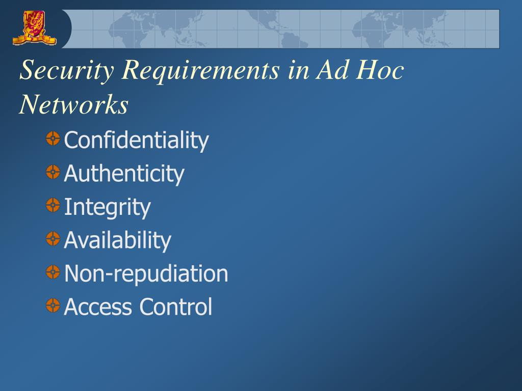 Security Requirements in Ad Hoc Networks