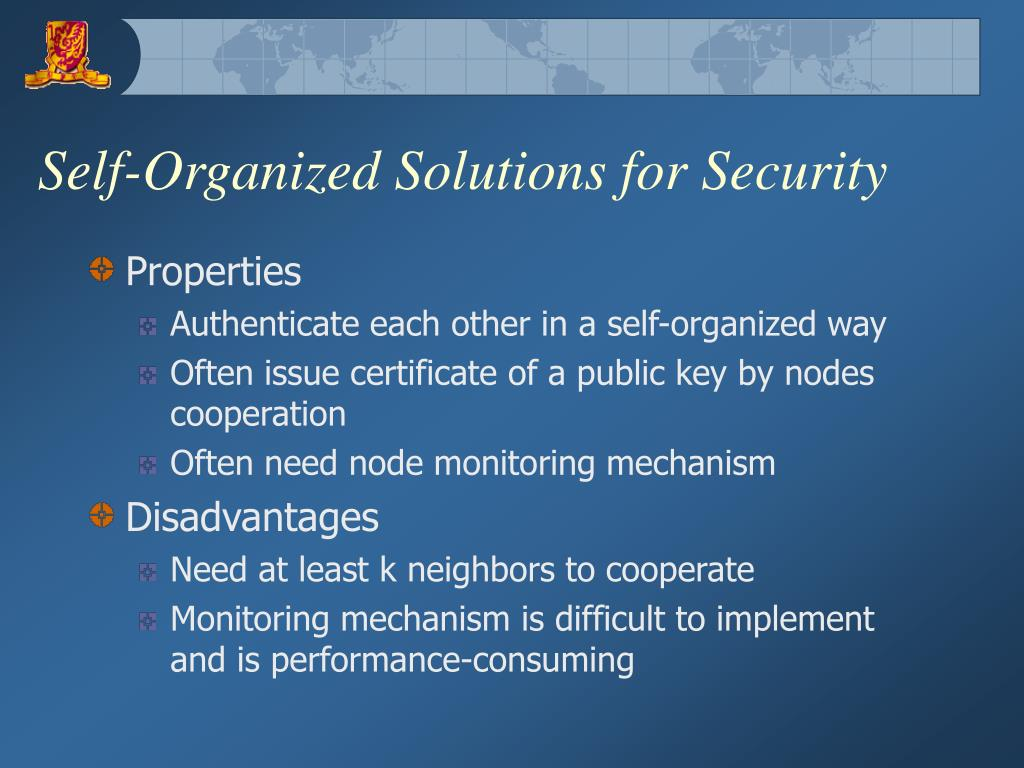 Self-Organized Solutions for Security
