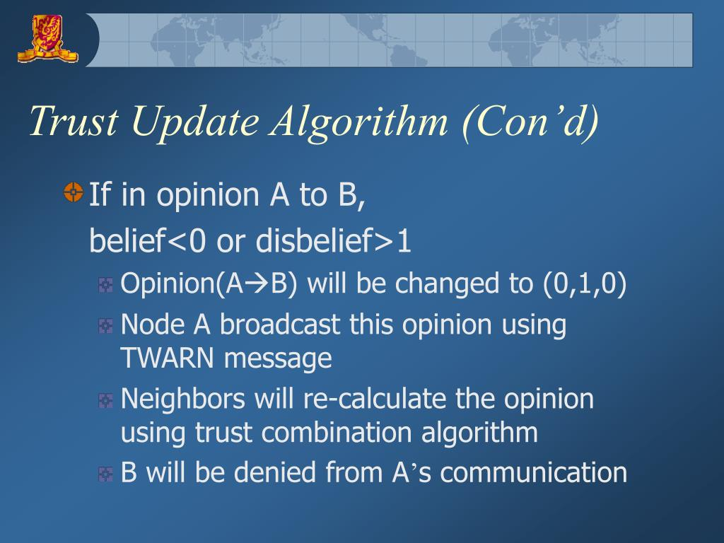 Trust Update Algorithm (Con'd)