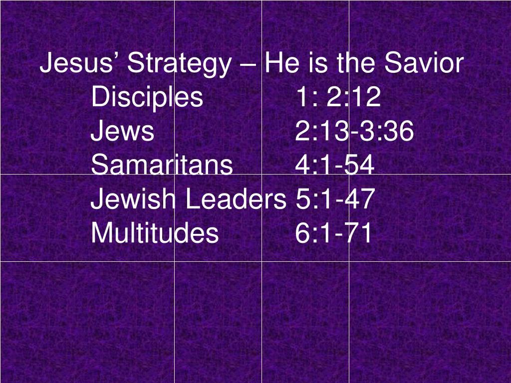 Jesus' Strategy – He is the Savior