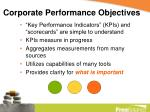 corporate performance objectives