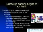 discharge planning begins on admission15