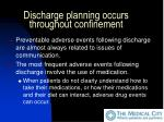 discharge planning occurs throughout confinement