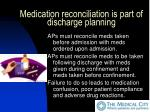 medication reconciliation is part of discharge planning