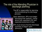the role of the attending physician in discharge planning11