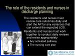 the role of the residents and nurses in discharge planning